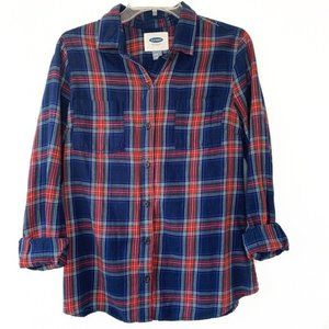 Old Navy long sleeve blue plaid button down top